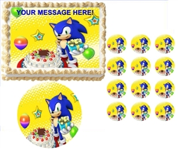 Sonic the Hedgehog Cake Party Edible Cake Topper Frosting Sheet - All Sizes!