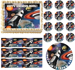 OUTER SPACE ROCKET SHIP Party Edible Cake Topper Image Frosting Sheet-all sizes!