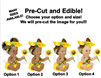 Sitting Sunflower Girl Babies of Color EDIBLE Cake Topper or Cupcakes, Sunflower Baby Shower Cake, Yellow Brown Head Bow Sunflower