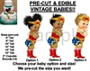 Pre-Cut Woman Superhero Red Boots Baby EDIBLE Cake Topper Image