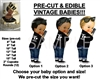 PRE-CUT 50's T Birds Black Leather Jacket Baby Boy EDIBLE Cake Topper Image afro
