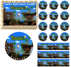 TERRARIA Party Edible Cake Topper Image Toppers Cupcakes or Sides Decoration
