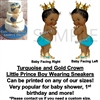 Turquoise and Gold Afro Prince Boy Sneakers EDIBLE Cake Topper Image Prince Cake