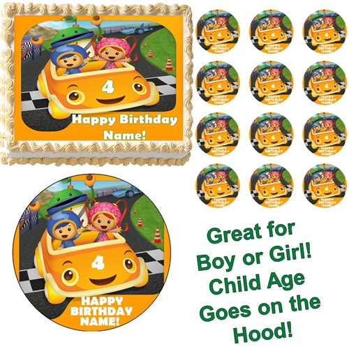 Awe Inspiring Team Umizoomi And Car Party Edible Cake Topper Frosting Sheet Personalised Birthday Cards Epsylily Jamesorg