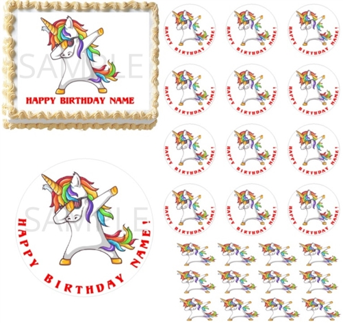 Rainbow Dabbing Unicorn Edible Cake Topper Image Cupcakes Unicorn Dabbing Party