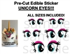 Pre Cut Bright Large Unicorn Eyes EDIBLE Cake Stickers Decals Unicorn Eyes Face