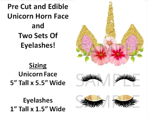 Pre Cut Unicorn Horn Face Eyelashes Edible Cake Stickers