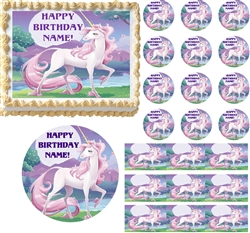 Magical UNICORN FANTASY Party Edible Cake Topper Image Frosting Sheet Cake NEW