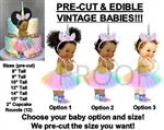 PRE-CUT Unicorn Princess Pastel Rainbow Tutu Baby EDIBLE Cake Topper Sneakers