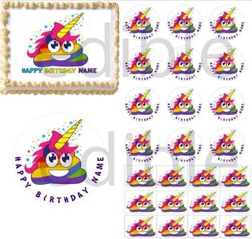 Unicorn Rainbow Poop Emoji Edible Cake Topper Image Cupcakes