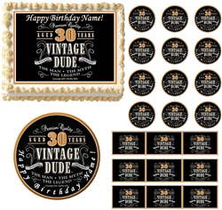VINTAGE DUDE 30 Party Edible Cake Topper Image Frosting Sheet Cake Decoration