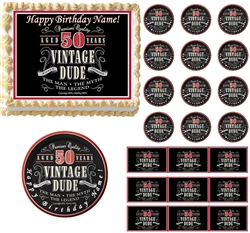 VINTAGE DUDE 50 Party Edible Cake Topper Image Frosting Sheet Cake Decoration
