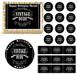 VINTAGE DUDE No Age Party Edible Cake Topper Image Frosting Sheet Cake Decoration