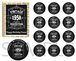 Vintage Aged to Perfection Year EDIBLE Cake Topper Image Cupcakes Over the Hill