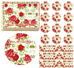 Vintage Red Roses Floral Flower Edible Cake Topper Image Frosting Sheet Cake NEW