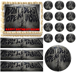 Walking Dead Zombies DONT OPEN DEAD INSIDE Edible Cake Topper Frosting Sheet - All Sizes!