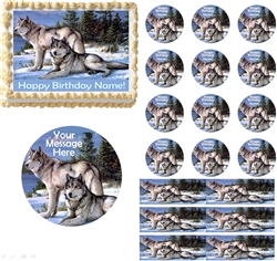 Grey Wolf Family Wolves Edible Cake Topper Image Cupcakes Cookies Wolf Cake