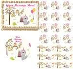 Happy Woodland Animals Girl Edible Cake Topper Image Baby Shower Cake First Birthday