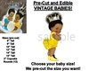 PRE-CUT Yellow and Silver Crown Afro Bun Baby EDIBLE Cake Topper Image Princess