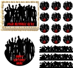 Zombie Silhouettes Cemetary Edible Cake Topper Image, Zombie Cake Decoration NEW