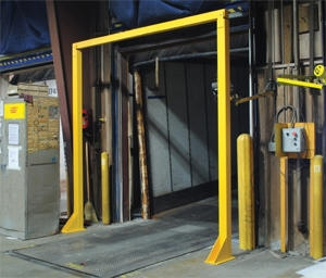 Economical Overhead Door Warning Barriers & Loading Dock Forklift Barricades to prevent forklift accidents