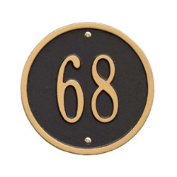 "Address Plaque Round 6"" Diameter Wall Aluminum- One Line"