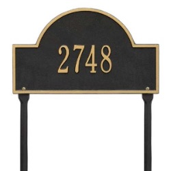 Address Plaque 15.75 x 9.25 inch Standard Lawn Arch Aluminum- One Line