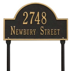 Address Plaque 15.75 x 9.25 inch Standard Lawn Aluminum Arch- Two Line