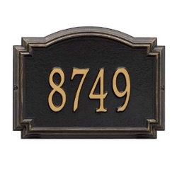 Address Plaque 14 x 10.25 x 1.25 inch Standard Wall Aluminum- Williamsburg- One Line