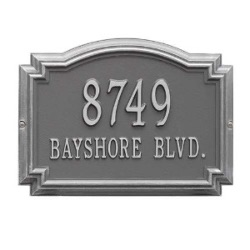 Address Plaque 14 x 10.25 x 1.25 inch Standard Wall Aluminum- Williamsburg- Two Line
