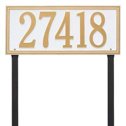 Address Plaque 23.25 x 10 inch Estate Lawn Hartford Aluminum- Two Line
