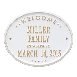 "Welcome Oval ""Family"" Established- Standard Wall Aluminum- Two Line"