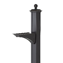Balmoral Mailbox Post 4.5 x 4.5 x 56 inch - Aluminum - Brackets, Finial