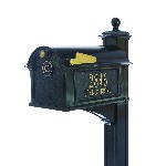 Balmoral Mailbox 13.7 x 13 x 21.25 inch with Post, Bracket, Side Plaques, Monogram Plaque- Aluminum