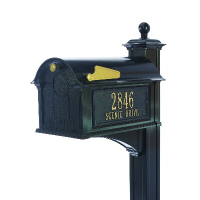 Balmoral Mailbox 13.7 x 13 x 21.25 inch with Post, Bracket, Side Plaques- Aluminum