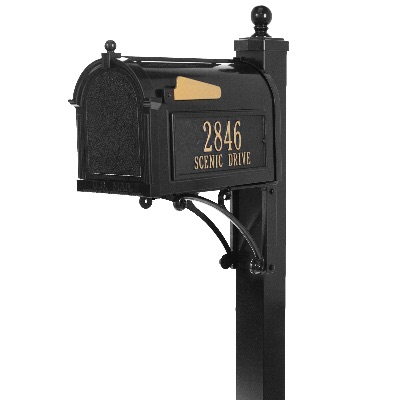 Deluxe Mailbox 9.625 x 13 x 20.375 inch with Post, Brackets, Finial, Plaques- Aluminum