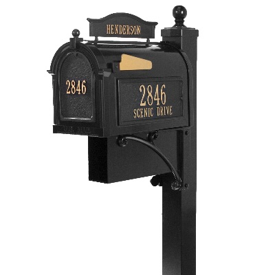 Ultimate Capitol Mailbox 9.625 x 13 x 20.375 inch with Deluxe Post & Brackets, Finial, Side Plaques, Door Plaque, Topper, Newspaper Box- Aluminum