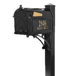 Superior Capitol Mailbox 9.625 x 13 x 20.375 inch with Deluxe Post & Brackets, Finial, Side Plaques- Aluminum
