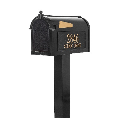 Premium Capitol Mailbox 9.625 x 13 x 20.375 inch with Standard Post, Side Plaques- Aluminum