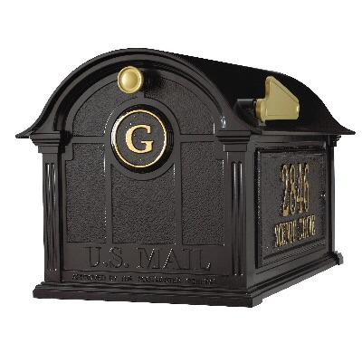 Balmoral Mailbox 13.7 x 13 x 21.25 inch with Side Plaques, Monogram Plaque- Aluminum