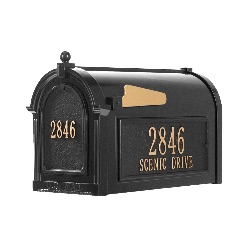 Capitol Mailbox 9.625 x 13 x 20.375 inch with Side Plaques, Door Plaque- Aluminum