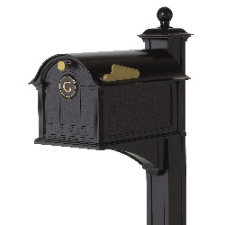 Balmoral Mailbox 13.7 x 13 x 21.25 inch with Post, Bracket, Monogram Plaque- Aluminum