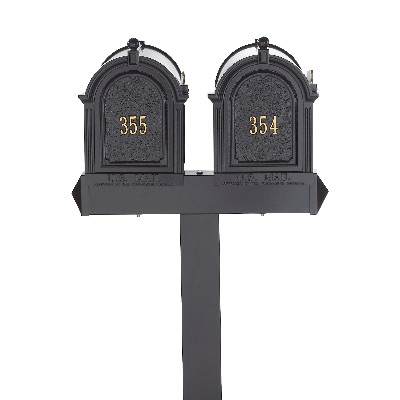 Dual Capitol Multi Mailbox 9.625 x 13 x 20.376 inch 2 Mailboxes, Post, 2 door panels- Aluminum
