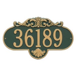 Address Plaque 17.5 x 10.25 inch Grande Wall Aluminum- Rochelle- One Line