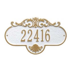 Address Plaque 15.5 x 9 inch Standard Wall Aluminum- Rochelle- One Line