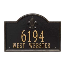 Address Plaque 14.5 x 9.875 x 0.375 inch Standard Wall Aluminum- Bayou Vista- Two Line