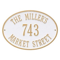 Address Plaque 14.25 x 10.25 inch Standard Wall Aluminum- Hawthorne Oval- Three Line