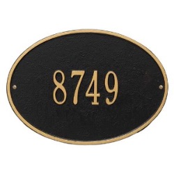 Address Plaque 14.25 x 10.25 inch Standard Wall Aluminum- Hawthorne Oval- One Line