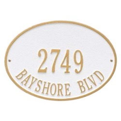 Address Plaque 14.25 x 10.25 inch Standard Wall Aluminum- Hawthorne Oval- Two Line