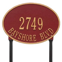 Address Plaque 14.25 x 10.25 inch Standard Lawn Aluminum- Hawthorne Oval- Two Line